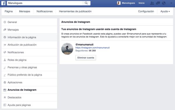 Conecta tu Instagram a tu Fan Page de Facebook